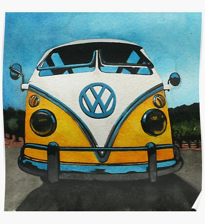 Wee Yellow Camper Poster