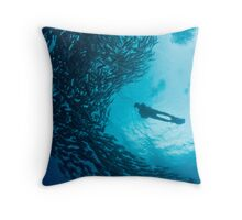 diver in a school of jacks Throw Pillow
