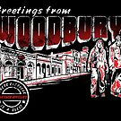Greetings from Woodbury Sticker by Ryleh-Mason