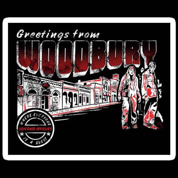Greetings from Woodbury Sticker by Ryleh-Mason