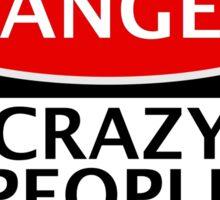DANGER CRAZY PEOPLE LIVE HERE, FUNNY FAKE SAFETY SIGN Sticker