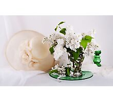 Still life with  white lilac in glass vase Photographic Print