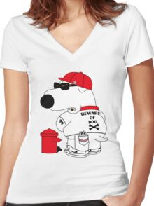 Beware of dog Women's Fitted V-Neck T-Shirt