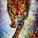 SNOW LEOPARD  - OIL PAINTING BY LEONID AFREMOV by Leonid  Afremov