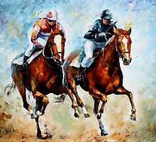 HORSE RACE 3 - OIL PAINTING BY LEONID AFREMOV by Leonid  Afremov
