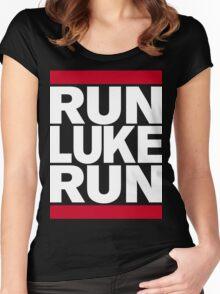 RUN LUKE RUN (White font) Women's Fitted Scoop T-Shirt