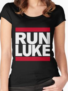 RUN LUKE (White font) Women's Fitted Scoop T-Shirt