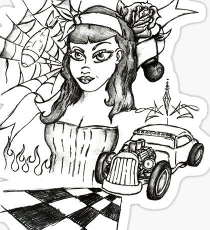 Psycho Gal (Black Ink) Sticker