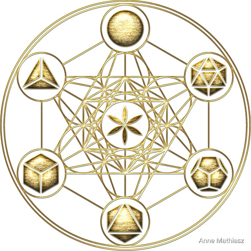 """Platonic Solids, Metatrons Cube, Flower of Life"" Stickers ... Platonic Solids Art"