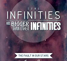 """""""Some infinities.."""" from the book The Fault In Our Stars by John Green. by Kira Shuttleworth"""