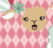 argyle sheep knitting needles yarn Christmas card Sticker