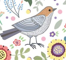 Romantic bird with flowers in vintage style Sticker