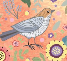 Romantic heart  bird and flowers Sticker