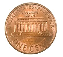 US one penny coin (one cents) isolated on white background  by PhotoStock-Isra