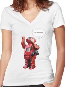 Bibot Robot- i was born a unicorn Women's Fitted V-Neck T-Shirt