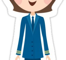 Female airline pilot cartoon illustration stickers Sticker