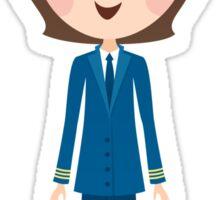 Female airline pilot cartoon illustration stickers Sticker