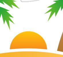 Palm tree island sunrise sticker Sticker