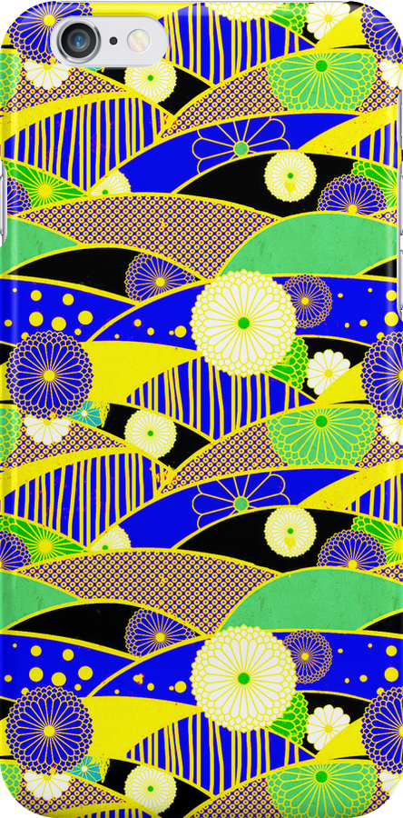 Chiyogami Lapis & Lemon [iPhone / iPod Case and Print] by Damienne Bingham