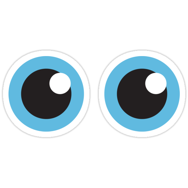 Quot Two Cartoon Eyes With Blue Iris Stickers Quot Stickers By