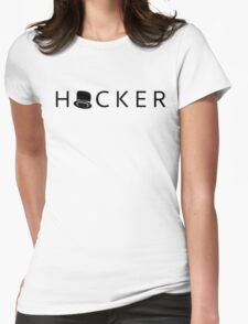 Black hat - white Womens Fitted T-Shirt