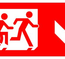 Accessible Means of Egress Icon and Running Man Emergency Exit Sign, Right Hand Down Arrow Sticker