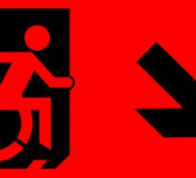 Accessible Means of Egress Icon Emergency Exit Sign, Right Hand Diagonally Down Arrow Sticker
