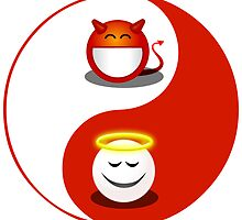 yin and yang devil and angel symbol by wasootch