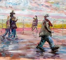 Big man walking on Blackpool sea front. by ejameson