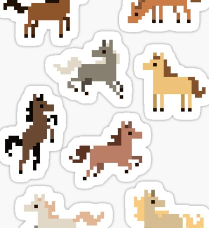8 Mini Pixel Horse Stickers Sticker