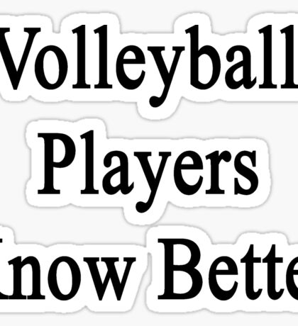 Volleyball Players Know Better  Sticker