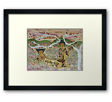 Japanese Sisters ~ tranquility garden Framed Print