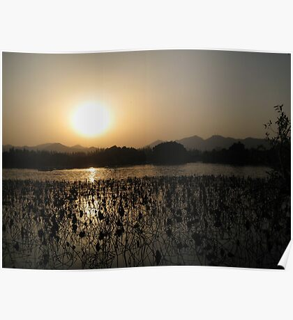 Sunset over West Lake Poster