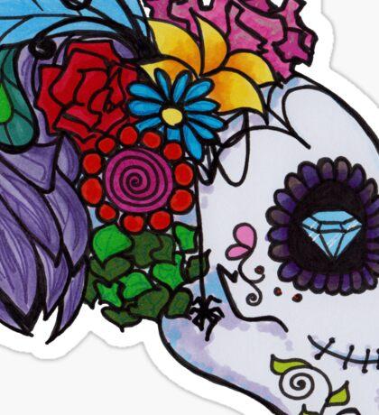 Fancy Headdress Sugar Skull Sticker