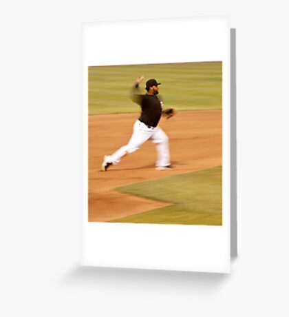 Pablo Sandoval in Motion.. Throwing to First Base Greeting Card