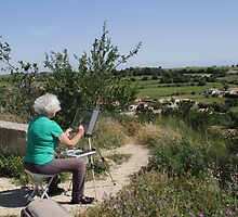 Freda painting at Chateauneuf du Pape, Provence, France by Freda Surgenor