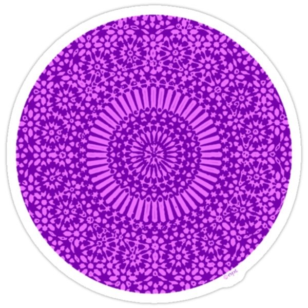 small purple crown chakra mosaic circle girly by offpeaktraveler
