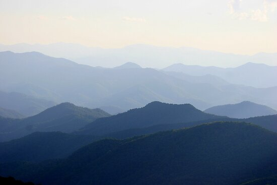 The Smoky Mountains along the Blue Ridge Parkway in North Carolina by Paula Tohline  Calhoun