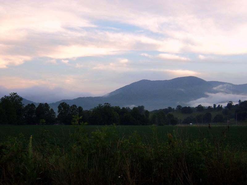 Sunset over Jonathan Creek, Maggie Valley, North Carolina by Paula Tohline  Calhoun