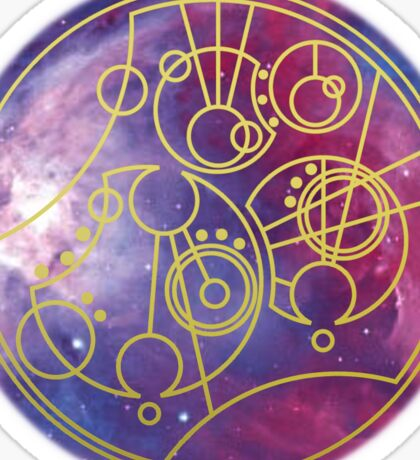 'Gallifrey Falls No More.' in Gallifreyan - Gold (bright nebula background) Sticker