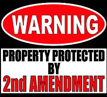 Warning Protected by the Second Amendment Shirts Stickers Cases  by 8675309