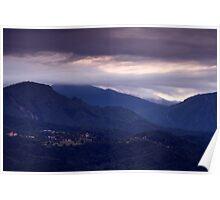 Alpine village at sunrise Poster