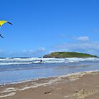 Kite Surfing near Burry Holms, Llangennith by Paula J James