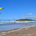 Kite Surfing near Burry Holms, Llangennith by Paula J James