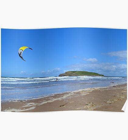 Kite Surfing near Burry Holms, Llangennith Poster