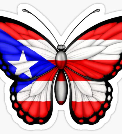 Puerto Rican Flag Butterfly Sticker