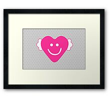 Cute Candy Heart - Grey and Pink Framed Print