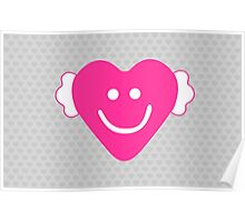 Cute Candy Heart - Grey and Pink Poster