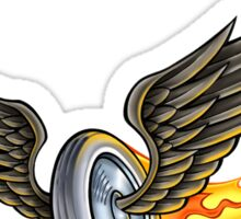 Flaming Winged Wheel Sticker