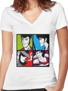 Lupin the third and his friends Women's Fitted V-Neck T-Shirt
